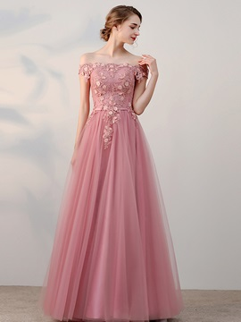 Sweet A-Line Off-the-Shoulder Beading Flowers Pearls Sashes Short Sleeves Prom Dress