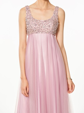 A-Line Appliques Beading Split-Front Prom Dress