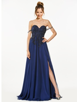 Timeless A-Line Sweetheart Appliques Beading Split-Front Prom Dress