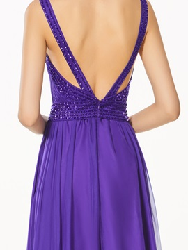 A-Line High Neck Backless Beading Prom Dress