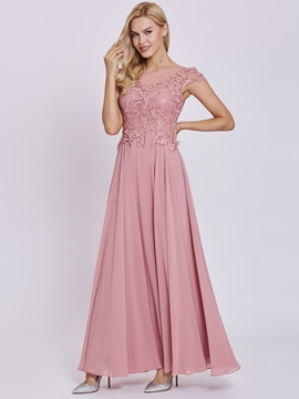 Charming Scoop Lace Appliques A-Line Prom Dress