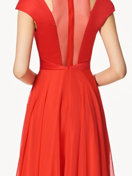A-Line Beading  Red Prom Dress