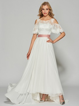 Fancy A-Line Bateau Two Pieces Half Sleeves Button Bowknot Lace Prom Dress