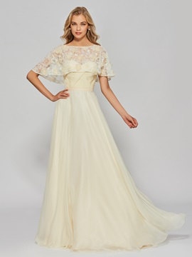 Unique A-Line Half Sleeves Bateau Lace Floor-Length Prom Dress