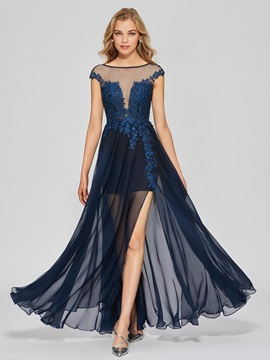 Elegant A-Line Cap Sleeves Appliques Split-Front Bateau Floor-Length Prom Dress