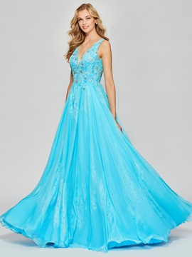 Charming A-Line Appliques Beading Floor-Length Prom Dress