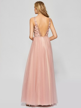Attractive A-Line Backless Appliques Sleeveless Floor-Length Prom Dress