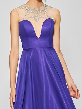 Chic A-lineJewel Beading Button Floor-Length Prom Dress