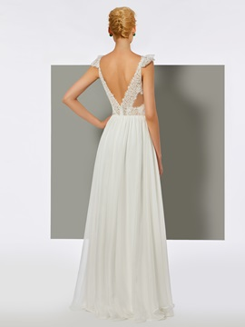 Simple A-Line Lace Backless V-Neck Floor-Length Prom Dress