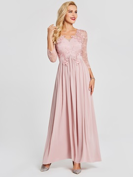 Modern V Neck Long Sleeves Lace Appliques Prom Dress