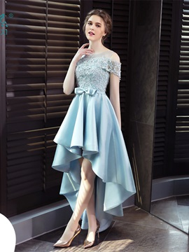 Charming A-Line Scoop Appliques Bowknot Sashes High Low Prom Dress