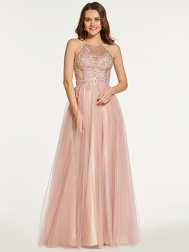 Sequins A-Line Halter Backless Long Prom Dress