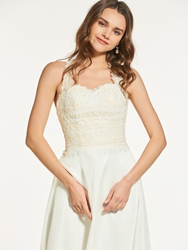 Straps A-Line Button Lace Sleeveless Prom Dress