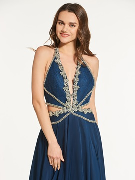 Chic A-Line Beading Backless Halter Prom Dress