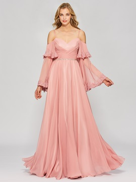 Unique A-Line Spaghetti Straps Long Sleeves Appliques Prom Dress