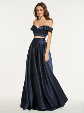 Two Pieces A-Line Off-the-Shoulder Long Prom Dress