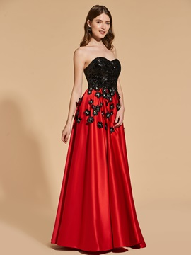 Sequins Appliques A-Line Sweetheart Prom Dress