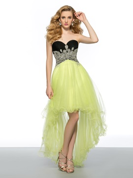 Stylish A-Line Sweetheart Beading Asymmetry Homecoming Dress