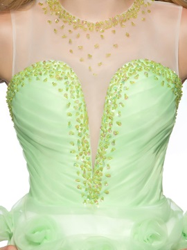 New Style Tulle Neckline Beading Flowers Backless Short Homecoming/Prom Dress