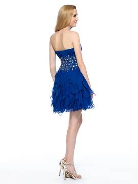 Modern A-Line Sweetheart Beading Pleats Short Homecoming Dress