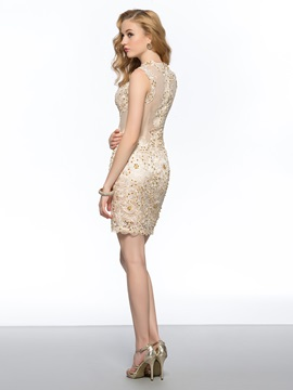 Delicate Column Lace Tulle Back Sequins Short Homecoming/Cocktail Dress
