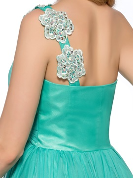 Cool One-Shoulder Appliques Beading Short A-Line Homecoming Dress