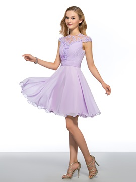 A-Line Jewel Flowers Beading Homecoming Dress