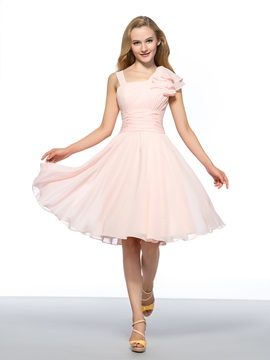 Trendy Cheap Straps Ruffles A-Line Zipper-up Chiffon Homecoming Dress