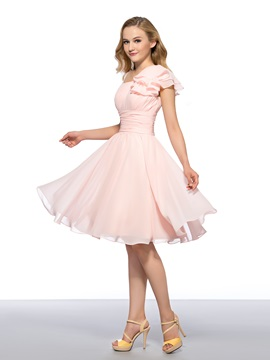 Trendy Cheap Straps Ruffles A-Line Zipper-up Homecoming Dress