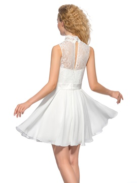 Pure High Neck Lace Pearls A-Line Short Homecoming Dress