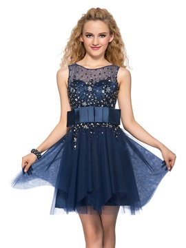 Latest Tulle Neckline Beading Sequins A-Line Short Cocktail Dress