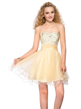 Latest Sweetheart Beading Sequins Lace-up Short Homecoming Dress
