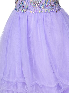 Sweetheart Beading Tiered Lace-up Short-Length Homecoming Dress