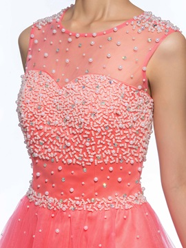 Great A-Line Pearls Beading Tulle Neckline Short Homecoming Dress