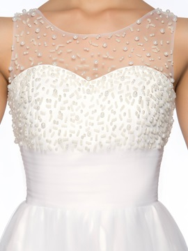 A-Line Scoop Beading Appliques Homecoming Dress