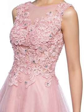 Dazzling Bateau Neck Appliques Beading Short Homecoming Dress