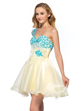Smart One-Shoulder Appliques Sequins A-Line Short Homecoming/Sweet 16 Dress