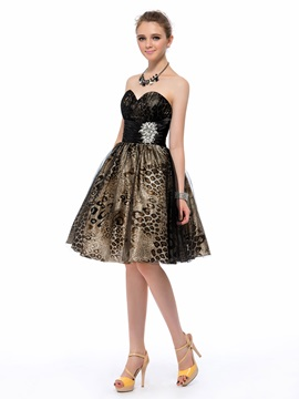 A-Line Sweetheart Leopard Print Homecoming Dress