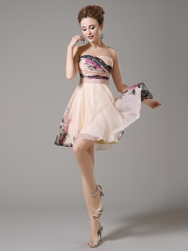 Amazing Sweetheart Pleats Printed A-Line Zipper-up Short Homecoming Dress