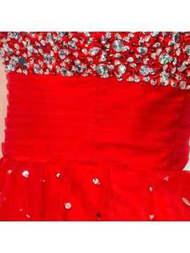 Shiny Bateau Neck Cap Sleeve Sequined Backless Short Red Homecoming Dress