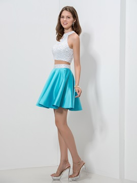 Sexy Hollow Backless Pearls Beaded Short Two Pieces Homecoming Dress