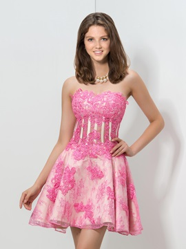 Sweetheart Empire Appliques Beaded Homecoming Dress
