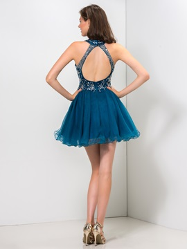 Modern Backless Jewel Neck Beaded A-Line Mini Homecoming Dress