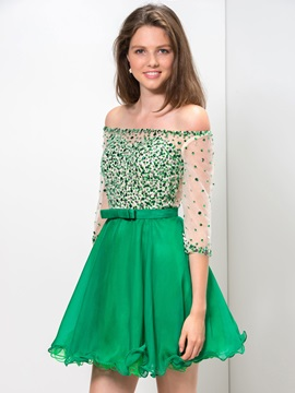 Shiny Off the Shoulder Sequined Beaded Bowknot Short Homecoming Dress