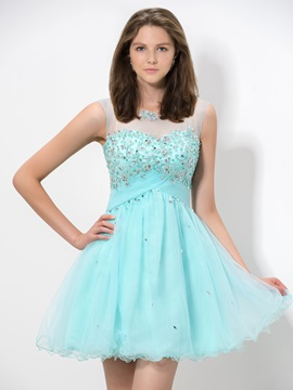 Fancy Scoop Neck Appliques Beaded Backless Short Homecoming Dress