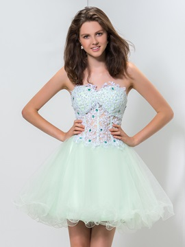 Fancy Sweetheart Appliques Beaded A-Line Short Tulle Homecoming Dress
