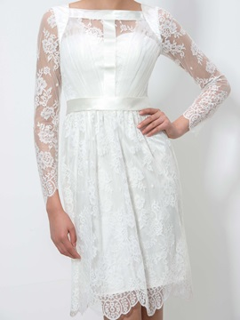 Simple Square Neckline Long Sleeve Knee-Length Lace Homecoming Dress