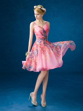 Pretty Straps A-Line Lace-up Knee-Length Printed Homecoming Dress