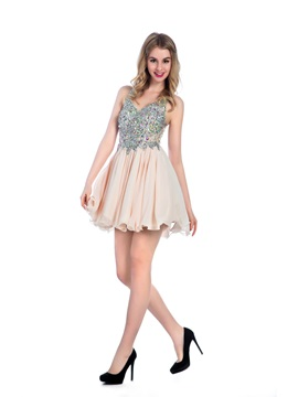 Straps A-Line Beading Short Homecoming Dress