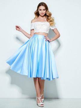 Off the Shoulder Short Sleeves Lace Two Piece Homecoming Dress